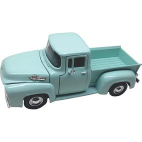 Pickup Ford Antiga F100 1955 1/24 Camionete Ferro Verde