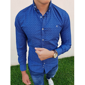 Camisa Slim Fit Azul Rombos Blancos Moon & Rain