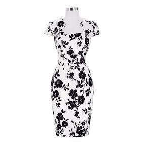 Vestido negro flores blancas
