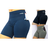 Shorts Cintura Alta Reforçada Fitness Sport Texneo Uv+50 Top