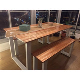 Mesa Comedor Hierro Y Madera Finjer Joint 1.40x0.70x75 Unica