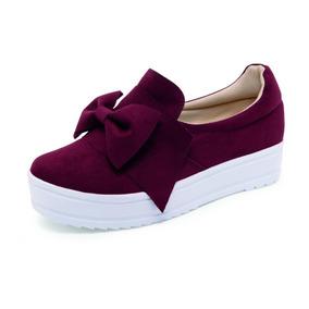 Tenis Moño, Terciopelo, Dama, Zapato, Casual 4 Colores E450