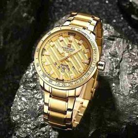 Relógios Masculinos Naviforce 9090 Dourado Luxo Promoção S/c