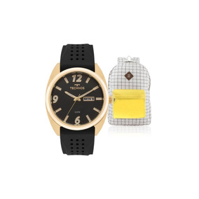 Kit Relógio Masculino Technos Com Mochila Vintage
