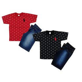 Kit C 2 Conjunto Masculino Menino Camiseta E Bermuda Jeans