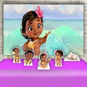 Kit Decoração Festa Infanti Moana Baby Cenários Kit Prata