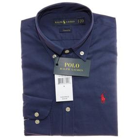 02adabbff61df Camisa Social Ralph Lauren Custom Fit Marinho Pony Vermelho