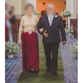 Vestido Mãe Da Noiva Sogra Dourado E Marsala Casamento Renda