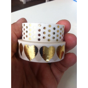 Kit 2 Washi Tapes Metalizadas Dourado E Branco Golden Foil