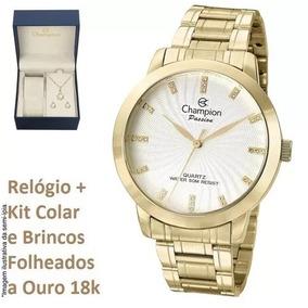 c3aaad0f665 Relogio Champion Dourado Feminino Cn29276b Kit Lindo