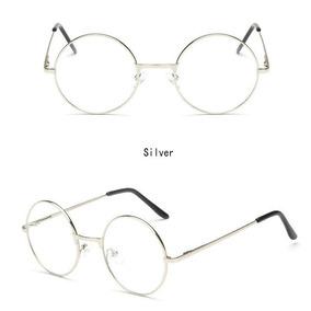 Armação De Metal Redondo Lentes Claras Óculos Geek Retrô 405f0f6da8