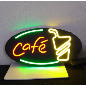 Placa Café Neon Flex Moderno Novo 70x38cm