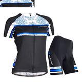 Uniforme Feminino Ciclismo Bike Bicicleta Camisa + Bermuda