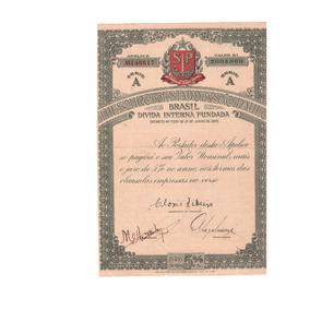 Apólice Título Da Dívida Interna Fundada Sp 1935 (com Laudo)