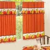 Juego Cortinas C Frutal Para Cocina Naranja Decorativas