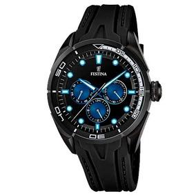 Relógio Festina Masculino Borracha Preto Azul