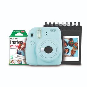 Kit Instax Mini 9 Azul Aqua Com Porta Fotos + Pack 10 Poses