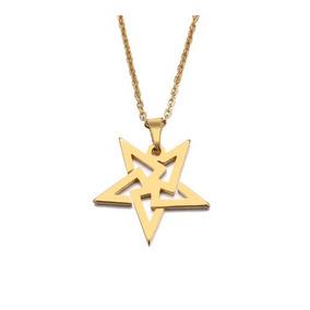 Lindo Collar De Pentagrama Estrella Acero Inoxidable