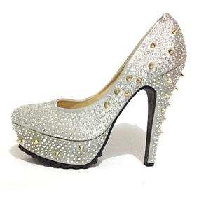 562d95f3c Sapato Feminino Salto Alto Importado Luxo Brilho - B 007