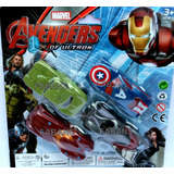 Set 4 Carros Vengadores Capitan Hulk Iron Carritos Avengers