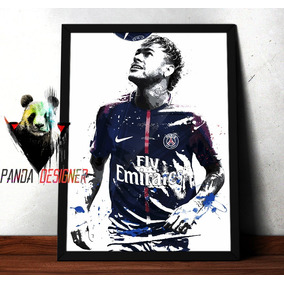 Quadro Psg Neymar Poster Paris Saint Germain 45x35 C/ Vidro