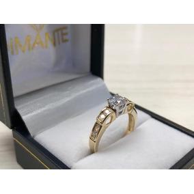 34b435a7ddc9 Anillo De Compromiso Con Diamante Corte Esmeralda Y Oro 14k ...