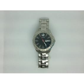 Reloj Haste Caballero Acero Plata Fondo Negro 112421359