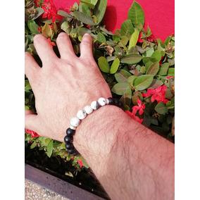 Pulsera-brazalete De Ónix Con Ágatas Blancas Y Esfera. Yoga