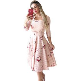 Vestido Midi Princesa Moda Evangélica Manga 3/4 Promoção