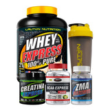 Kit Massa Muscular Whey + Bcaa + Zma + Creatina + Coq Lauton