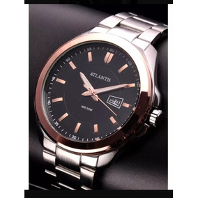 Relógio Masculino Original Atlantis Prata Social Barato Top