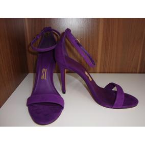 Sandália De Salto Camurça Cabra Ultravioleta