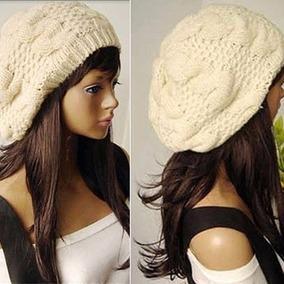 Boina Nude Crochet Crochê Lã Beret Beanie Importado Novo 74d72097256