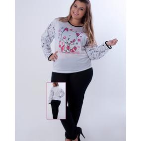 Kit 10 Pijamas Femininos Compridos Em Malha Suave Estampada