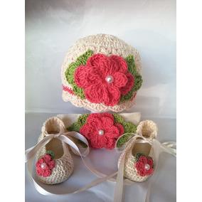 Zapatos Tejidos, Gorra Y Tiara Para Bebé Flor Coral Ballet