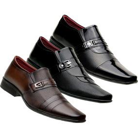 c92f4b2442 Kit Em Promoção 3 Pares Sapatos Social Masculinos Estilosos
