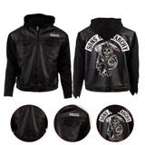 Vintage Biker Style Soa Hooded Real Leather Jacket