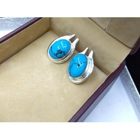 Aretes De Plata 925 Con Piedra Tipo Turquesa