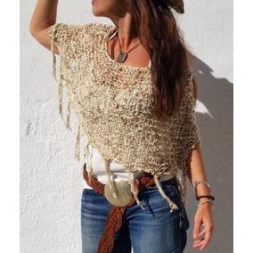 Hermoso Chal Poncho Crochet Tejido Ivory T S C444
