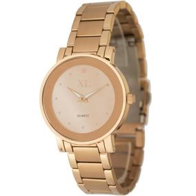 Reloj Xl Extra Large Moda Metal Dama Xl 639 Rosado