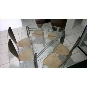 Mesa De Jantar Luxo Triangular Vidro 6 Cadeiras Usado@