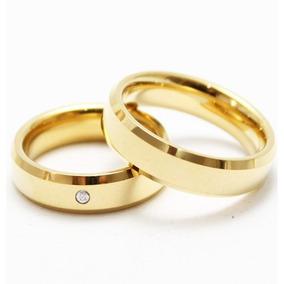 Par Aliança Tungstênio 6mm Chanfrada Pedra Banhada Ouro
