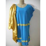 Fantasia Carnaval Romano Romana Azul Dourado G Bom Estado