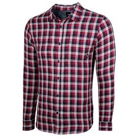 Camisa Cuadros Hombre Vans Vn-0a36hltdr Vino Manga Larga T3