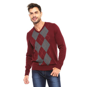 Sueter Sweater Tommy Hilfiger Cuello V Rombos Color Vino...