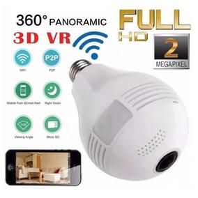 Câmera Ip Lampada 2.0mp Panorâmica 360 Full Hd Wireless Wifi