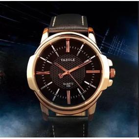 Relógio Yazole Luxo Masc Pulseira De Couro À Prova D