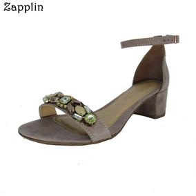 Calçado Feminino Zapplin Salto Baixo Grosso Pedrarias 191015
