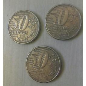 3 Moeda 50 Centavos 98, 00, E 01. Frete Meu