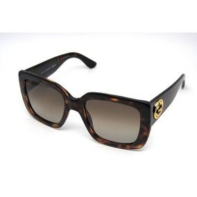 47a645be7 Óculos De Sol Feminino Gucci Gg3814 Quadrado Grande Marrom